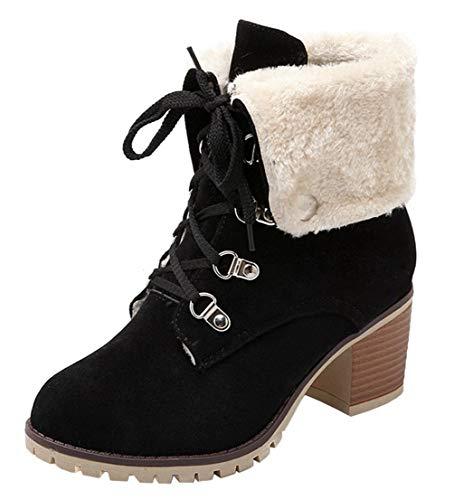 LUXMAX Damen Schnürstiefelette Blockabsatz Chunky Heels Ankle Boots mit Schnürung Fell 6cm Absatz Warm Schuhe(Schwarz,34)
