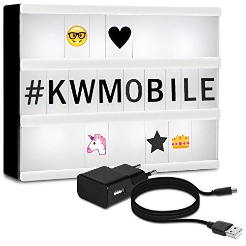 kwmobile LED Lichtbox A4 Lightbox - 378 Buchstaben Zahlen schwarz bunt Emoji - USB Netzteil - Deko Leuchte Light Box - Kino Leuchtkasten Vintage Lampe