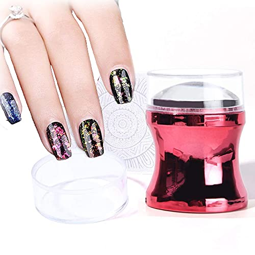 YFFS Clear Silicone Nail Stamping, Silicone Nail Stamper French Tip, Clear Jelly Silicone Nail Stamper Head (Red)