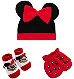 Disney Baby Girls Minnie Mouse 3 Piece Take Me Home Set : Hat, Bootie and Mittens (Newborn), Size Age 0-3M, Minnie Red/Black