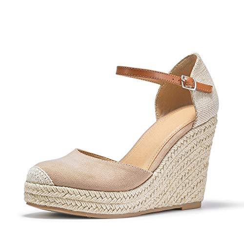 FISACE Women Summer Espadrille Heel Platform Wedge Sandals Ankle Buckle Strap Closed Toe Shoes Beige