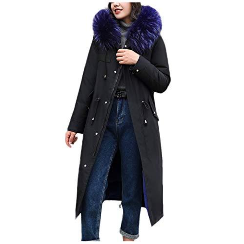 Yezijin Lange Daunenmäntel für Damen, Oberbekleidung aus Kunstfell mit Kapuze, Knopfleiste - Blau - XX-Large