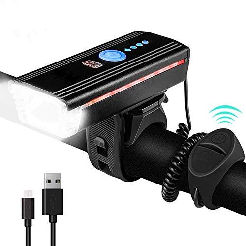 Luz frontal de bicicleta de inducción inteligente USB recargable bicicleta con cuerno 4 modos LED MTB lámpara Ciclismo Altavoz Faro, Carretera Ciclismo Seguridad Linterna