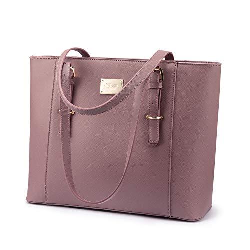 LOVEVOOK Handtasche Arbeitstasche für 14 Zoll Laptop, Wasserdicht Elegant Shopper Aktentasche, PU Leder Schultertasche Laptoptasce für Business Uni Rosa