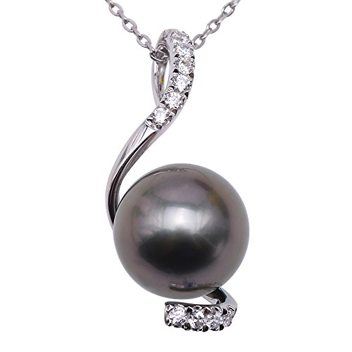 JYX tahiti perle Perlenkette 14 Karat Gold 9,5 mm Schwarze Tahitiperle Anhänger Halskette 45,7 cm