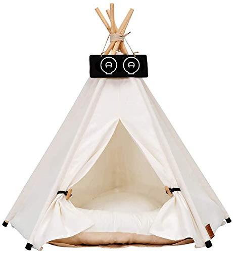 HNXYF Tipi Zelt für Haustiere Hundezelt Katzenzelt Haustierzelte Häuser mit Kissen Abnehmbar und Waschbar Haustierbett Wegklappen Haustier Zelt Möbel Hundebett Katzenbett Tipi (L50*50 * 60, Weiß)