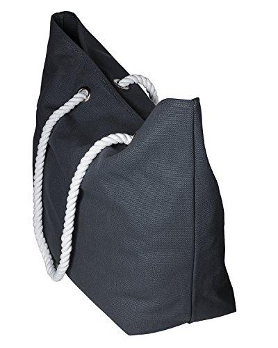 cecilia&bens Canvas Strandtasche XXL für die ganze Familie | geeignet für Stranddecke, großes Strandtuch | ideales Urlaub-Zubehör, Farbe:grau
