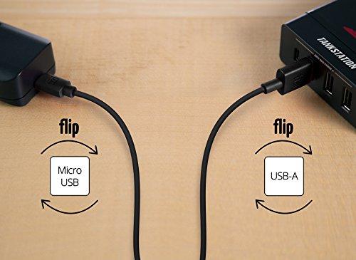 equinux tizi flip - Micro USB (2m, schwarz) Daten- und Ladekabel mit doppelseitigen Reversible Steckern. Micro USB und USB-A beidseitig steckbar. Kabel mit umkehrbaren Micro-USB Anschlüssen.