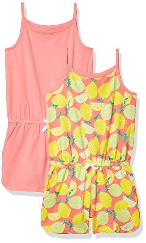 Amazon Essentials 2-Pack Girls Knit Romper Dress, Lemons, UK 9-10 Years
