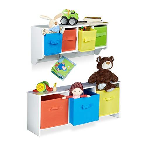 Relaxdays 2 teiliges Kinderzimmer Aufbewahrungsset, Kindersitzbank mit Stauraum, Wandregal Wandgarderobe, weiß mit bunten Stoffboxen