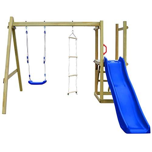 vidaXL Parque Infantil con Tobogán Escaleras y Columpio Madera FSC Juego Niños
