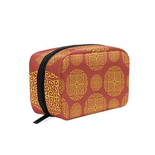 FANTAZIO Cosmetische Tassen voor Vrouwen Rood Goud Behang Voor Muren make-up Pouches