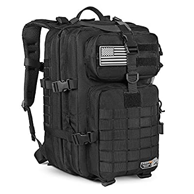 LeisonTac Tactical Backpack with Military ISO Standard for Hunting Hiking Travel Camping (Black)