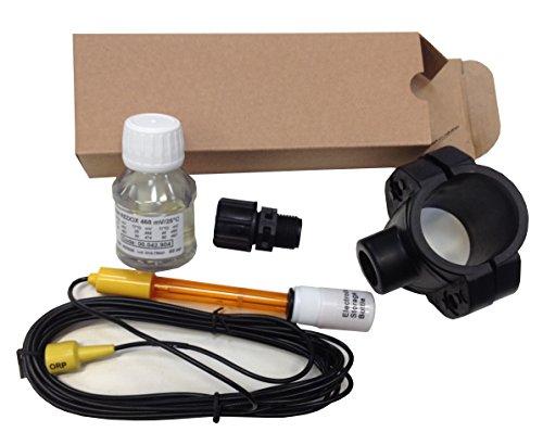 Kit Electrodo ORP (Redox) combinado con doble conexión, Range tamaño +/-1000mV completo de solución tampón para la calibración, Porta Electrodo para grifería y toma a soporte de 50mm