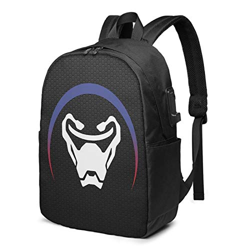HOOYI Over_Watch Hero Logo 17 Inch Laptop Backpack Water Resistant USB Charing Anti-Theft Slim Travel Computer Back Pack for College Business Black
