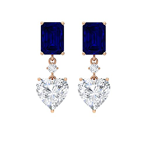 Pendientes Octágono, Pendientes de zafiro azul, D-VSSI Corazón Moissanite Pendientes, 4,5 quilates, pendientes colgantes, 14K Oro rosa, Par