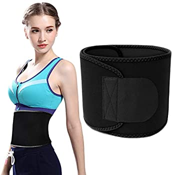 Vaupan Waist Trimmer for Women Men Sweat Band Waist Trainer Stomach Wraps for Weight Loss Neoprene Ab Belt with phone pocket Black