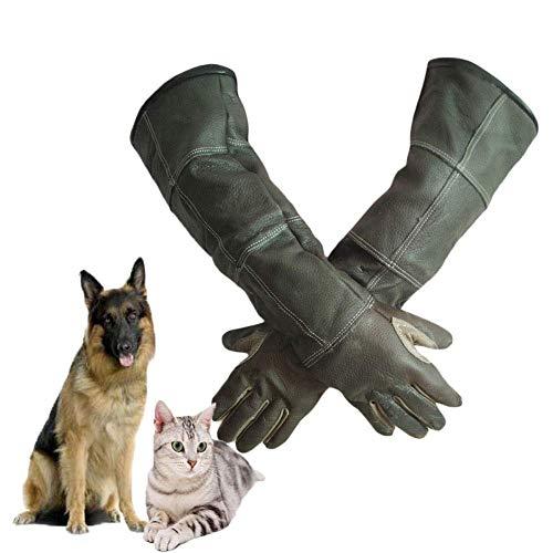 DGHJK Guantes de manejo de Animales, 23,6 Pulgadas para Perro, Gato, pájaro, Serpiente, Loro, Lagarto, protección de Animales Salvajes, Guantes antimordida/Rayado