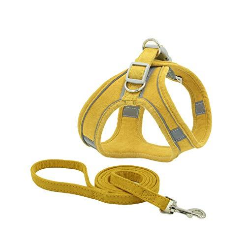 Arnés reflectante para perros y gatos, arnés y correa para el pecho para chihuahua, carro, pequeño, mediano, correa para el pecho, correa para caminar, color amarillo-S