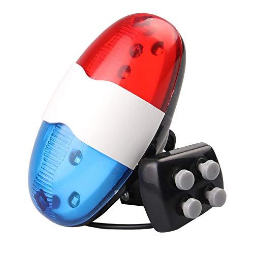 GSDJU Timbre de Bicicleta 6 LED 4 Tonos Bocina de Bicicleta Llamada de Bicicleta Luz LED de policía Luz electrónica Sirena ruidosa Accesorios para niños Bicicleta Scooter MTB