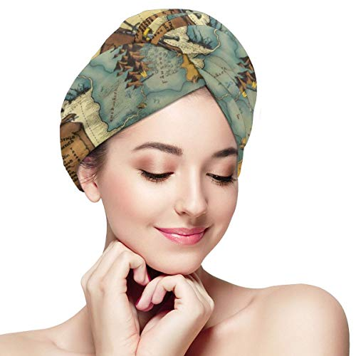 Vintage Game World Map Microfiber Hair Towel Wraps with Button for Women Quick Dry Anti-frizz Head Turban for Long Thick Curly Hair Super Absorbent So