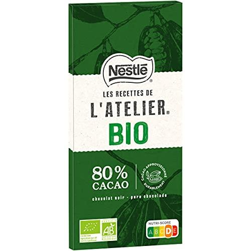 Nestlé Les Recettes de l'Atelier - Chocolat Noir 80% Bio - tablette de 80g