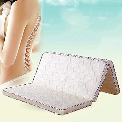 Tatami Colchón de tres pliegues, 3e grueso Cojín de colchón de palma de coco Colchoneta ortopédica de fibra de coco Colchoneta de cama de invitados de sensación firme y silenciosa-Blanco 135x190cm
