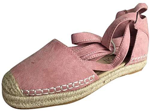 AIni Damen Schuhe Mode Elegant Sommer Flache Schnür Espadrilles für Chunky Holiday Sandals Beiläufiges Strand Party Schuhe(40,Rosa)