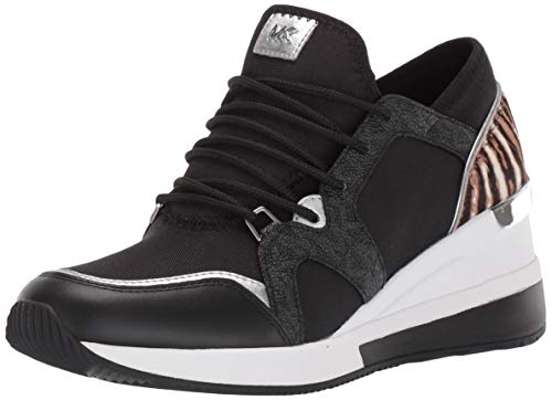 MICHAEL by Michael Kors Liv Logo Mixed Media Black and Safari Sneaker, Zapatilla Negras, Zapatilla de Cuero, Zapatillas de Mujer 38.5 EU Negro