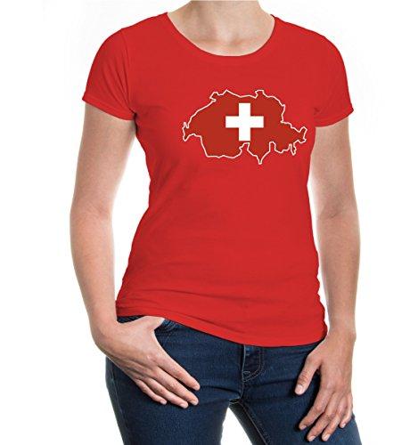 buXsbaum® Damen Girlie T-Shirt Schweiz Shape   Suisse Switzerland Svizzera Swiss Europa   Flagge Ländershirt   XL, Rot