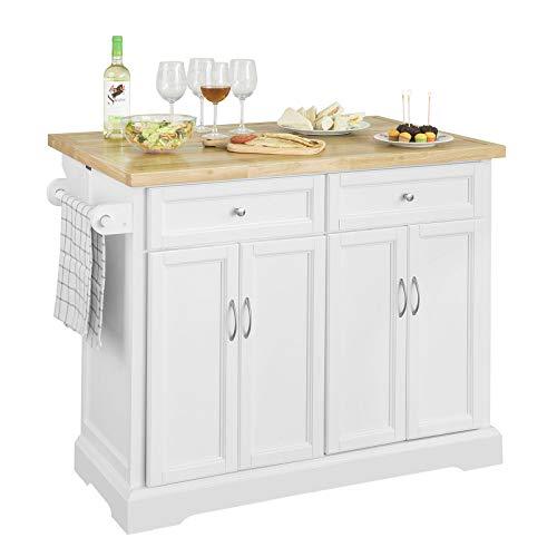 SoBuy FKW71-WN Kücheninsel Küchenwagen mit erweiterbarer Arbeitsplatte Küchenschrank Servierwagen Holz weiß BHT ca.: 115x92x46-71cm