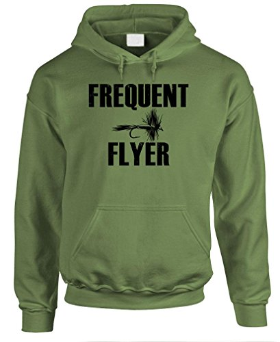 The Goozler Frequent Flyer - Fly Fishing Outdoors Fish - Mens Hoodie, L, Military