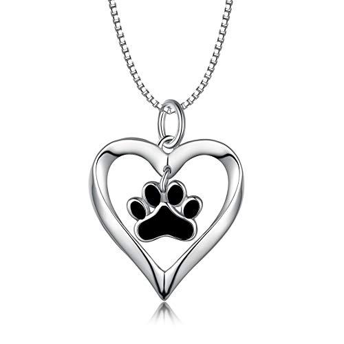 LONAGO - Collana in argento Sterling 925 a forma di cuore con cucciolo di cane, gatto, animale domestico, con ciondolo a forma di zampa, regalo per donne e ragazze e Argento, cod. PYX0550