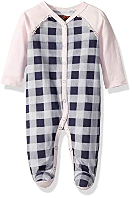 7 For All Mankind Baby Girls Footie, Navy Gingham, 3-6 Months