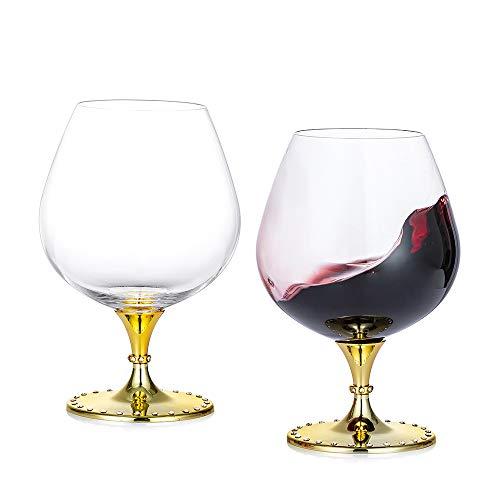 Nuptio Copas de Cristal de Coñac y Brandy Conjunto de 2 -Hecho a Mano Grande - Vidrio 100% Sin Plomo - Ideal para Bebidas Espirituosas, Borbón, Vino, 21.2 oz, Oro