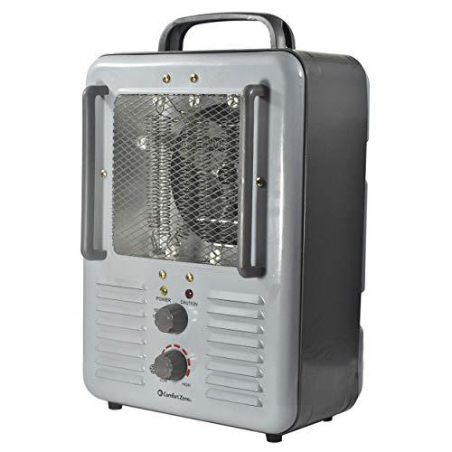 Comfort Zone CZ798 1500 Watt 3-Prong Milkhouse Utility Heater, Grey