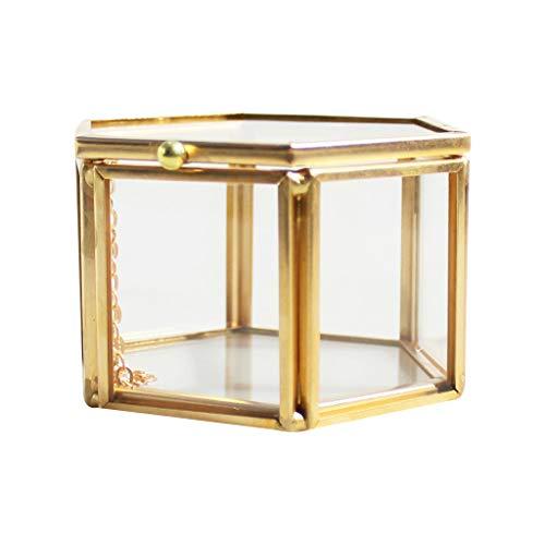 Lazder Joyero geométrico de Cristal Transparente, Organizador de Joyas, Soporte para Mesa, Plantas suculentas, contenedor para Almacenamiento de Joyas en el hogar
