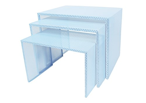 Tosel Zarina Tables Gigogne, Acier, Bleu, 48 x 40 x 40 cm