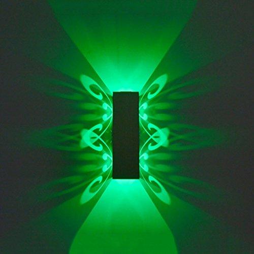 Lampe murale applique Luminaire allumé en aluminium pour le haut et le bas Lampe murale LED 2W Batterie Moderne Moderne Lumière murale Intérieur (Couleur : Green light-6W)