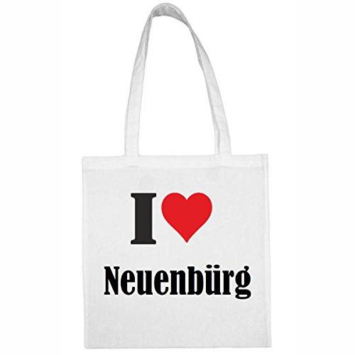 Reifen-Markt Tasche I Love Neuenbürg Größe 38x42 Farbe Weiss Druck Schwarz