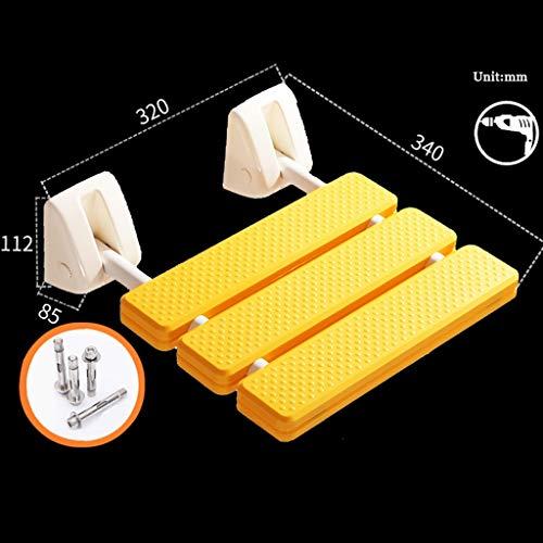 LAAN Wand befestigten Dusche-Sitz, faltbar Badezimmer Sitzbank, for Ältere/Behinderte, Badehilfe Startseite Sauna Zimmer, Max 250kg, außer Raum, 32 × 34 × 11,2 cm (Color : Yellow)