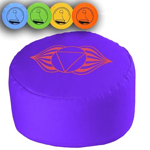 KlarGeist Cuscino da meditazione Zafu per principianti, articolazioni e professionisti (Ajna lilla, seduta media (17-18 cm)