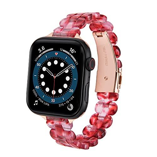 CHENPENG Correa Compatible con Apple Watch Series 6/5/4/3/2/1 / SE Bandas de Resina Elegantes Pulsera de Repuesto, para Mujeres, niñas, Hombres,4,42mm