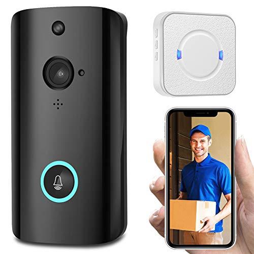 Videodeurbel, HD-Videokwaliteit, Slimme Draadloze Deurbel Videocamera Weerbestendig, Eenvoudige Installatie Intercom Bel Ondersteuning TF-Kaart,NO BATTERY