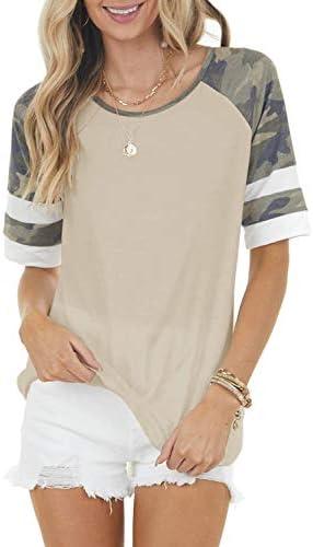Yanekop Womens Casual Basic T Shirt Camo Striped...