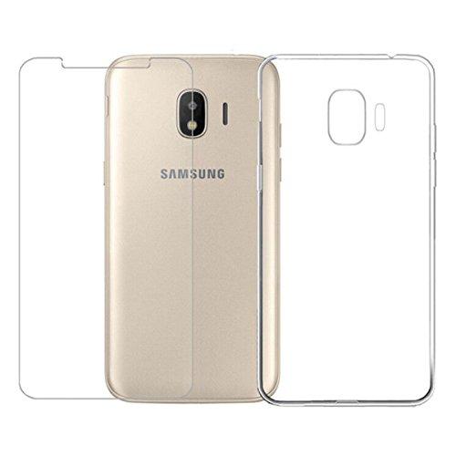 LJSM Hülle für Samsung Galaxy Grand Prime Pro 2018 / Samsung Galaxy J2 Pro 2018 Transparent + Panzerglas Bildschirmschutzfolie - Weich Silikon Schutzhülle Flexibel TPU Tasche Case Cover Handyhülle (5.0