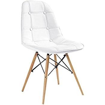 silla blanca tapizada patas madera blanca