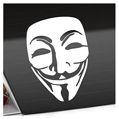 Anonymous Maske 11 x 15 cm IN 15 FARBEN - Neon + Chrom! Sticker Aufkleber