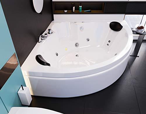 """Oimex 2 Personen Whirlpool Badewanne\""""Italian\"""" mit LED exklusiv 150 x 61,5 x 150 cm inklusive Armaturen, Schürze und Gestell"""