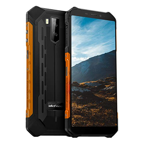 Ulefone Armor X5 Rugged Cell Phones Unlocked (2020), 5.5 inch Screen, Android 10, 3GB + 32GB, 13MP + 2MP Dual Rear Cameras, Waterproof, Military Grade Smartphone, Face ID, NFC, OTG, WiFi -Orange
